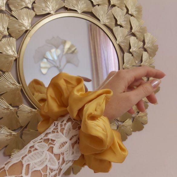 Aranyokker sárga óriás szatén hajgumi