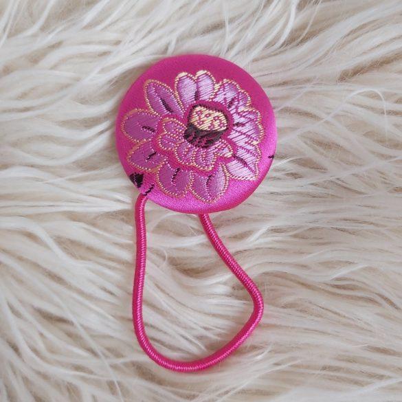 Japán virág mintás szatén gomb hajgumi