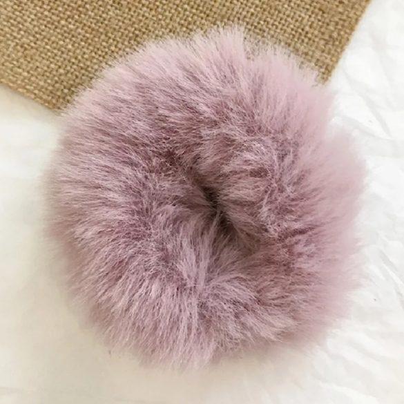 Rózsaszín szőrös hajgumi