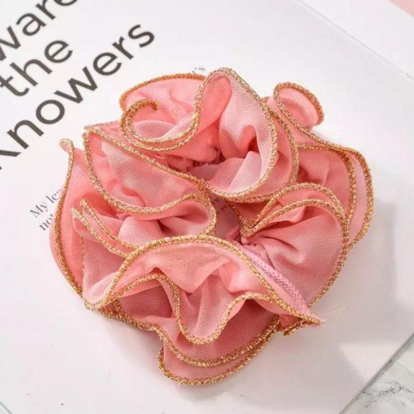 Arany hímzéses rózsaszín fodros hajgumi