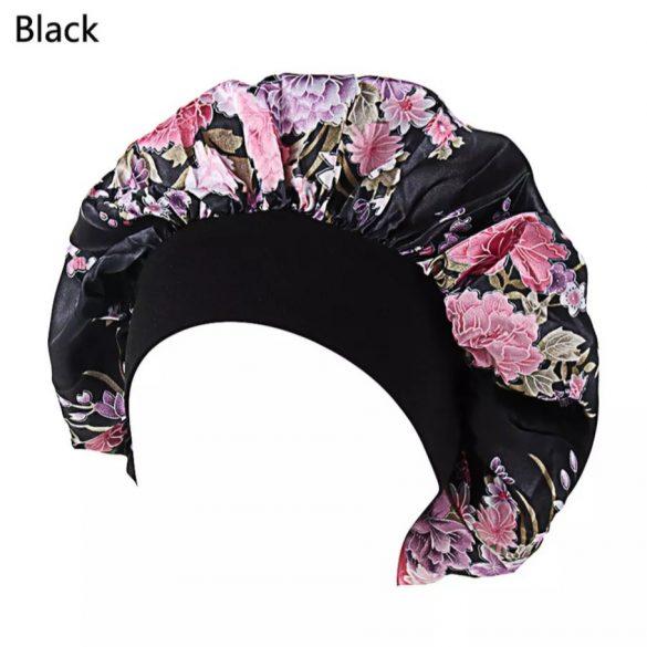 Fekete virág mintás szatén hálósapka
